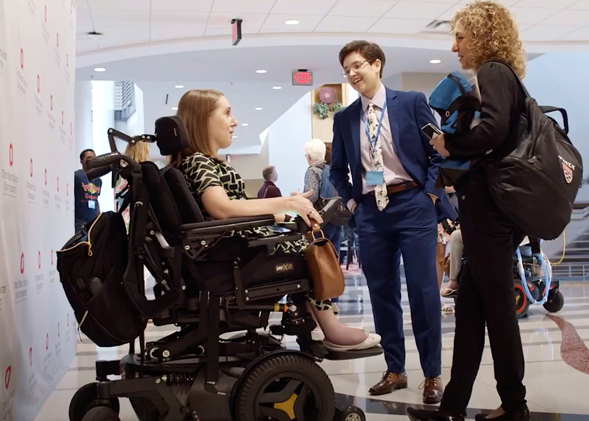 Anousheh Ansari (right), the first female private space explorer and keynote speaker at the SciAccess 2019 Conference, chats with Heather Tomko (left), public health researcher and 2018 Miss Wheelchair USA, and Anna Voelker (center).  Credit: SciAcces/Heather Taylor.