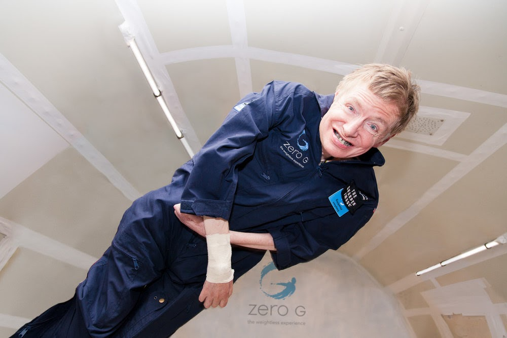 """Professor Stephen Hawking floating during a ZERO-G flight in 2007. Hawking said of this experience, """"For me, this was true freedom. People who know me well say that my smile was the biggest they'd ever seen. I was Superman for those few minutes."""" Credit: Steve Boxall/ ZERO-G."""